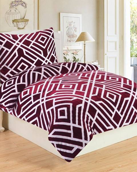 DecoKing Jahu Obliečky mikroplyš Labyrint Wine, 140 x 200 cm, 70 x 90 cm