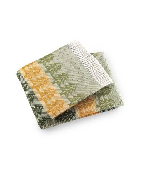 Euromant Zeleno-žltý pléd s podielom bavlny Euromant Moss, 140 × 160 cm
