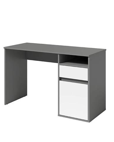 PC stôl tmavosivá-grafit/biela BILI