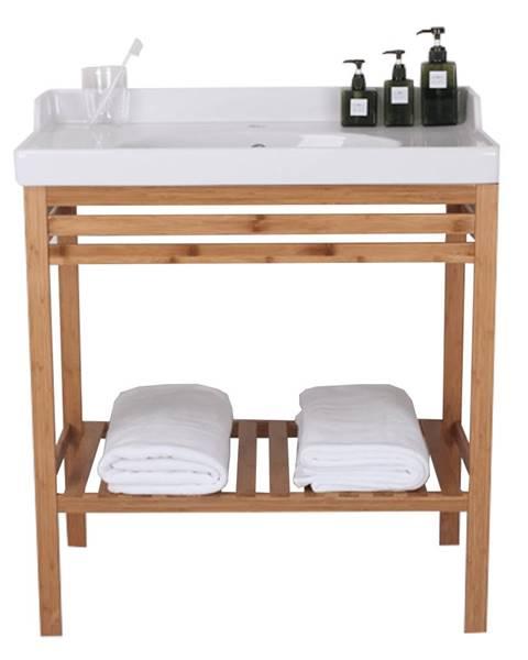 Tempo Kondela Stôl s keramickým umývadlom prírodná/biela SELENE TYP 6