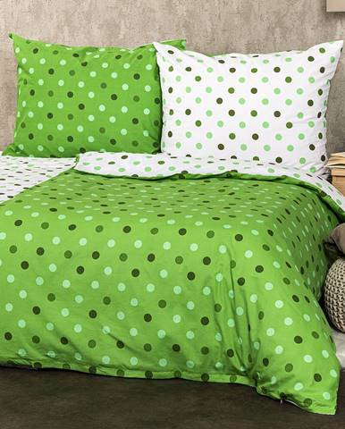 4Home Bavlnené obliečky Bodky zelená, 140 x 200 cm, 70 x 90 cm