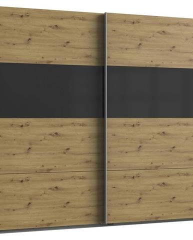 Skriňa S Posuvnými Dverami Bramfeld,dub Artisan/sklo Sivé