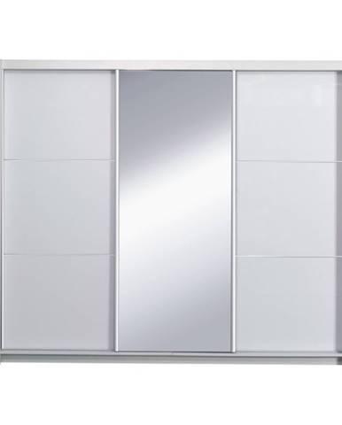 Skriňa s posúvacími dverami biela/ vysoký biely lesk 258X213  ASIENA