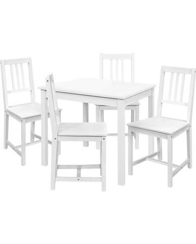 Jedálenský stôl 8842B biely lak + 4 stoličky 869B biely lak
