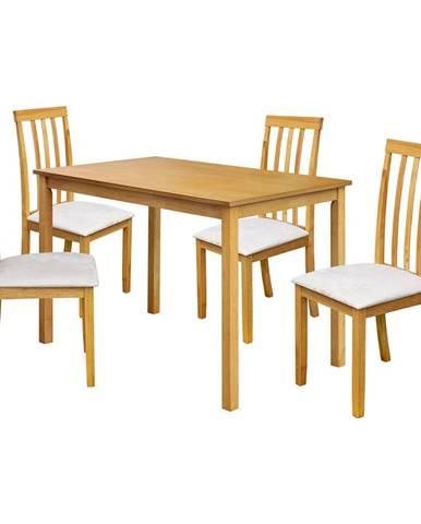 Stôl + 4 stoličky MALAGA lak javor