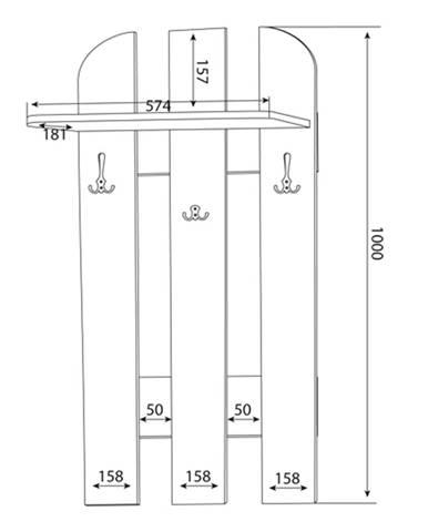 MLnábytok Vešiakový panel W 59-01
