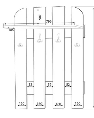 MLnábytok Vešiakový panel w 80-01