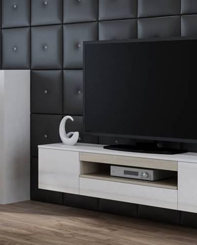 Artcam Závesný TV stolík Viva biela/biely lesk/sonoma