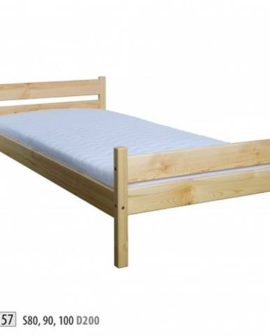 Drewmax Jednolôžková posteľ - masív LK157 | 80 cm borovica