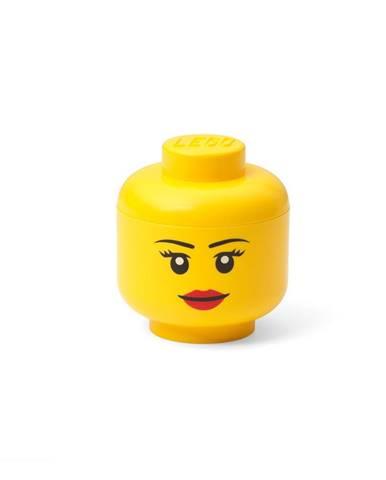 Žltá úložná škatuľa v tvare hlavy LEGO® girl, 10,5x10,6x12cm