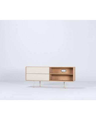 Biely TV stolík z dubového dreva Gazzda Fina, šírka 150 cm