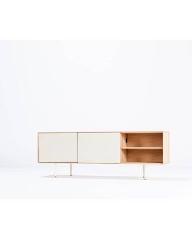Biely TV stolík z dubového dreva Gazzda Fina, šírka 180 cm
