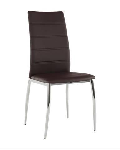 Jedálenská stolička ekokoža hnedá/chróm DELA rozbalený tovar