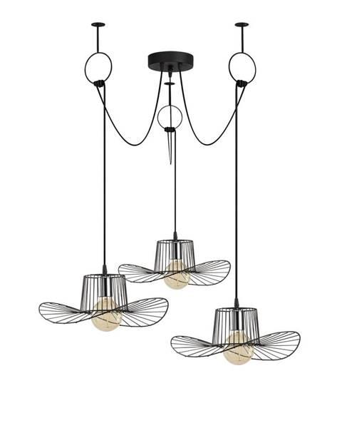 Opviq lights Čierne závesné svietidlo pre 3 žiarovky Opviq lights Tel Hat