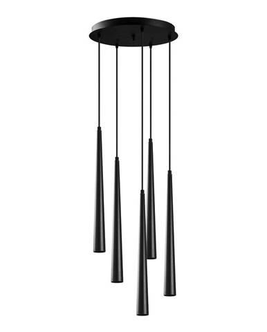 Čierne závesné svietidlo pre 5 žiaroviek Opviq lights Uğur Drop