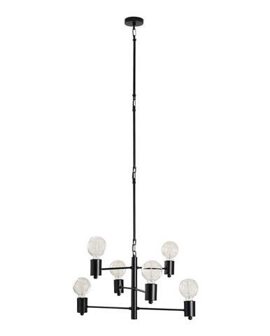 Čierne závesné svietidlo pre 6 žiaroviek Opviq lights Hexa Long