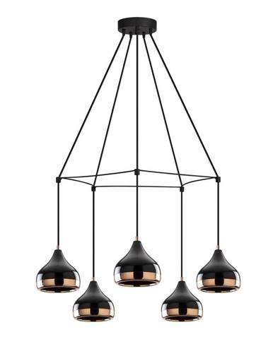 Závesné svietidlo v čierno-medenej farbe pre 5 žiaroviek Opviq lights Yildo Web