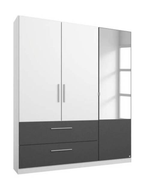 Sconto Šatníková skriňa AUBREE alpská biela/sivá, 3-dverová s 1 zrkadlom