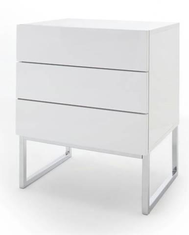 Nočný stolík ODON I biela vysoký lesk
