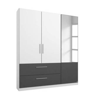 Šatníková skriňa AUBREE alpská biela/sivá, 3-dverová s 1 zrkadlom