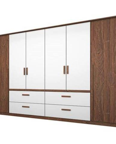 Šatníková skriňa GABRIELLE dub stirling/alpská biela, 6 dverí, 4 zásuvky