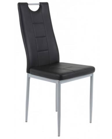 Jedálenská stolička Kim, čierna ekokoža%