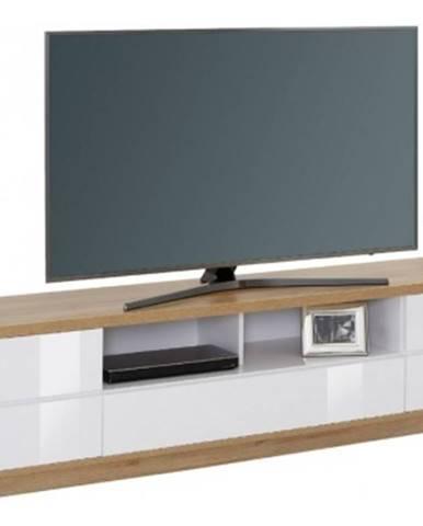 Široká TV skrinka Typ 7714, dub riviéra / biely lesk%