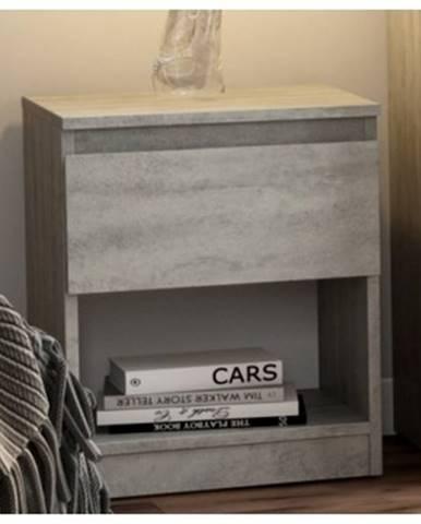 Skrinka /nočný stolík Carlos 401S, šedý beton%