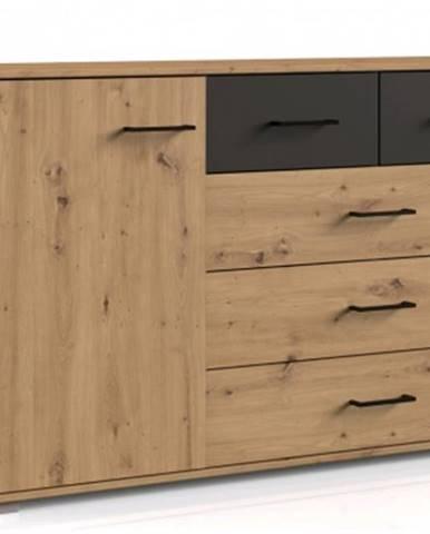 Komoda so zásuvkami Coventry, 130 cm, dub artisan/antracitová oceľ%