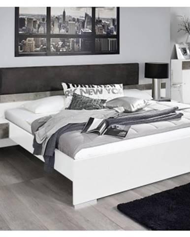 Posteľ s nočnými stolíkmi Penzberg 160x200 cm, biela/betón%
