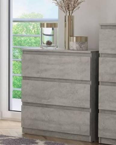 Zásuvková komoda Carlos 753S, šedý beton, výška 80 cm%