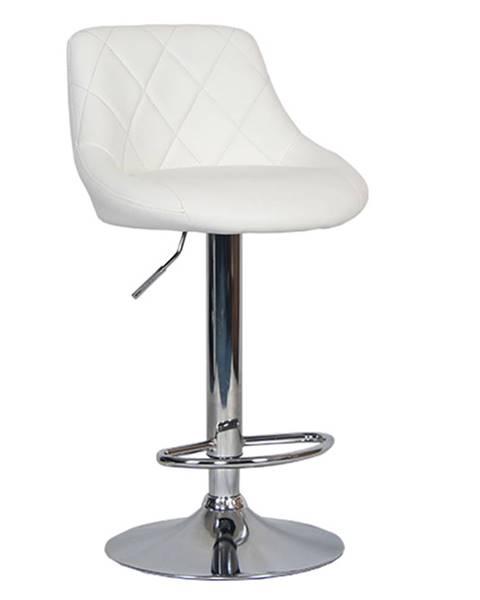 Kondela Barová stolička biela ekokoža/chrómová MARID