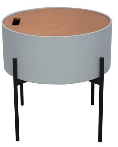 Príručný stolík sivá/prírodná/čierna MOSAI