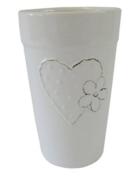 OKAY nábytok Keramická váza VK42 biela so srdiečkom a kvetinkou