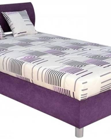 Čalúnená posteľ George 120x200, fialová, vrátane matraca a úp