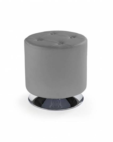 OKAY nábytok Kožená taburetka Dora kruh sivá