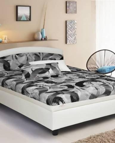 Čalúnená posteľ Zonda 120x200, šedá/biela, vrátane matracov a úp