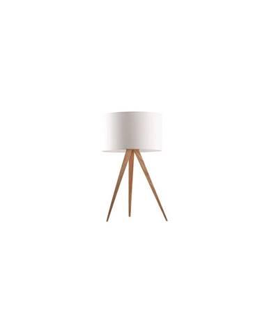 Biela stolová lampa Zuiver Tripod Wood