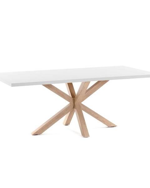La Forma Biely jedálenský stôl s prírodným podnožím La Forma Arya, 160 x 100 cm