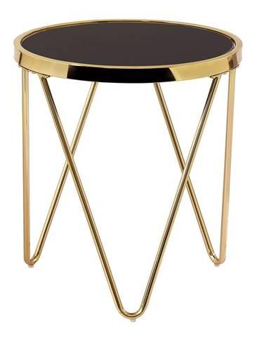 Príručný stolík gold chróm zlatá/čierna VALERO