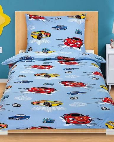 Bellatex Bavlnené obliečky Pretekárske autá, 140 x 200, 70 x 90 cm