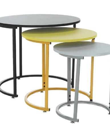 Set 3 príručných stolíkov čierna/žltá/sivá RONEL NEW poškodený tovar