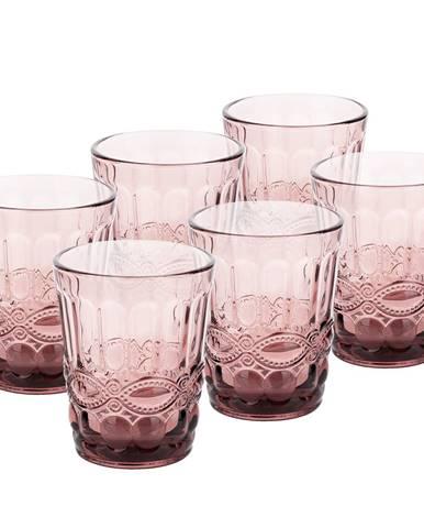 Vintage sklené poháre na vodu 6ks 240ml ružová FREGATA TYP 2