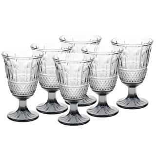 Vintage sklené poháre na víno 6ks 220ml sivá LEGACY
