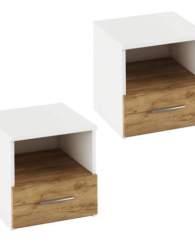 Nočný stolík 2 ks biela/dub artisan  GABRIELA