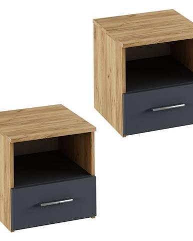 Nočný stolík 2 ks dub artisan/grafit GABRIELA