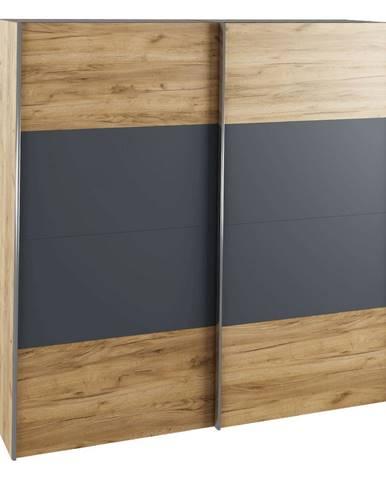 Skriňa s posúvacími dverami dub artisan/grafit GABRIELA