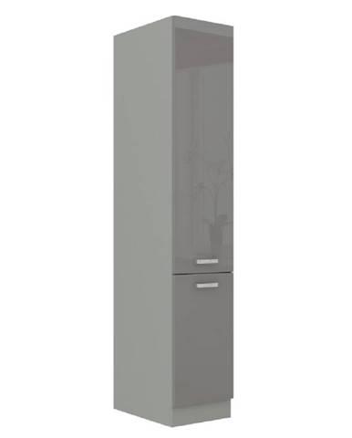 Vysoká dvojdverová skrinka sivá vysoký lesk/sivá PRADO 40 DK-210