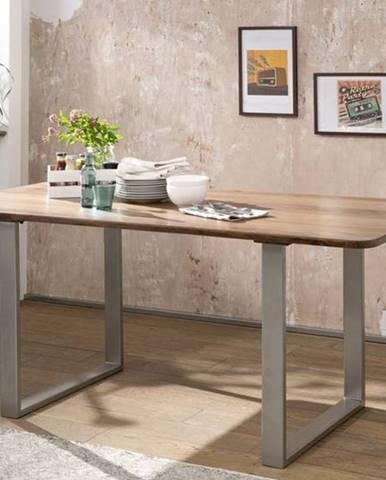 ROUND Jedálenský stôl kovové nohy 200x100 cm, hnedá, palisander