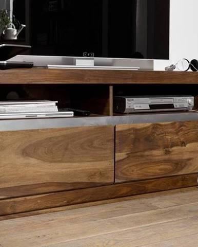 ROUND TV stolík 133x60 cm, hnedá, palisander
